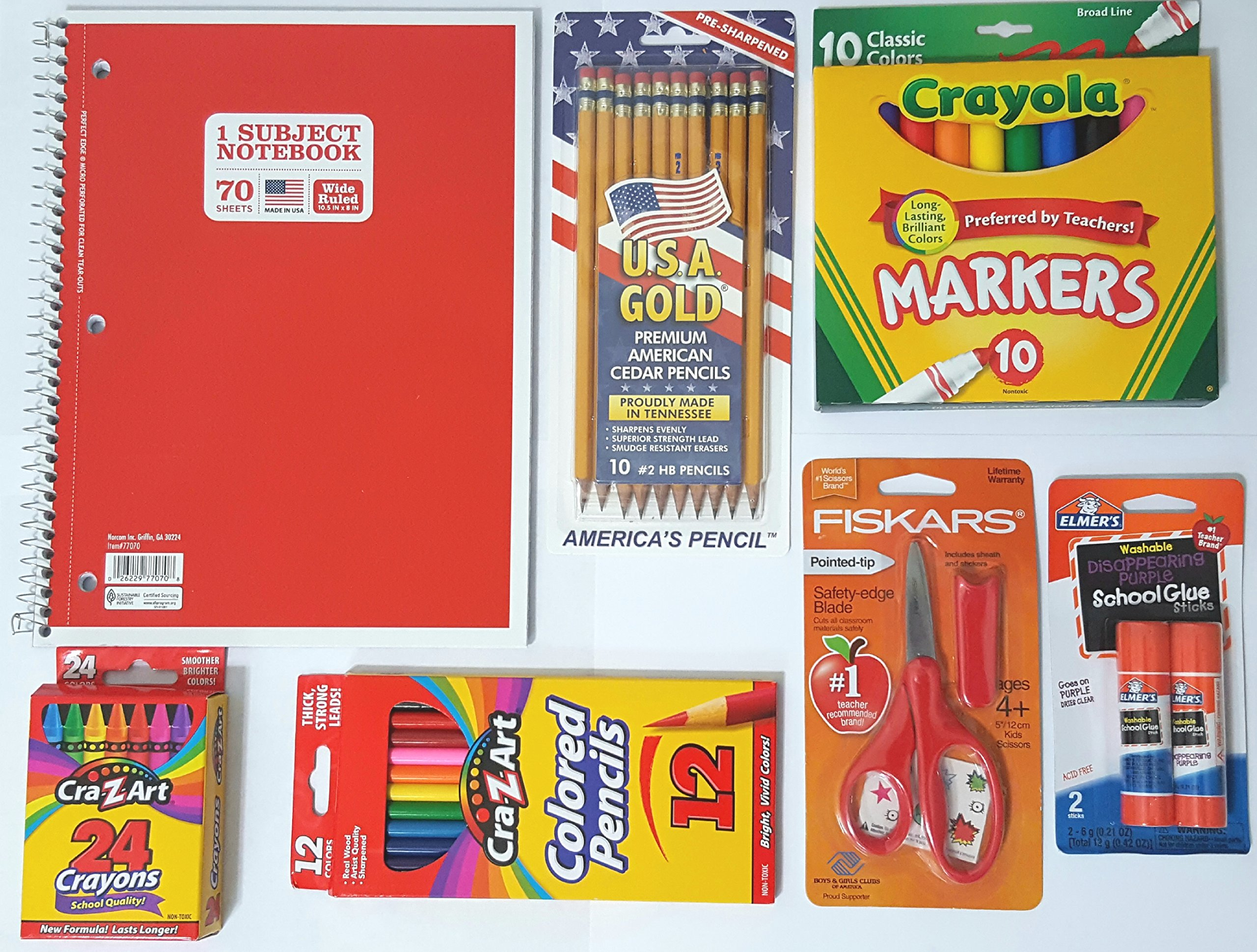 Basic School Supply Bundle, 1x Subject Notebook, U.S.A Gold #2 Pencil (10ct), Crayola 10 Ct Classic Marker,CRA-Z-Art Crayons, Elmer's Glue Sticks, CRA-Z-Art Colored Pencils, Fiskars 5 in. Scissor
