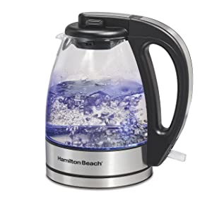 Hamilton Beach Compact Glass Kettle, 1 Liter (40930)