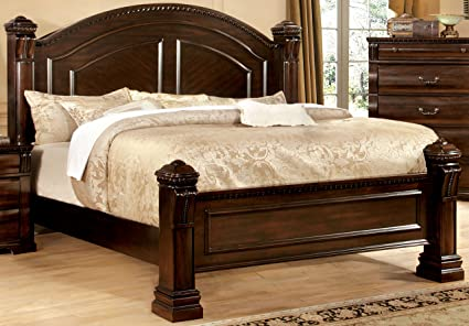 Furniture Of America Lexington Low Poster Bed, Queen, Cherry