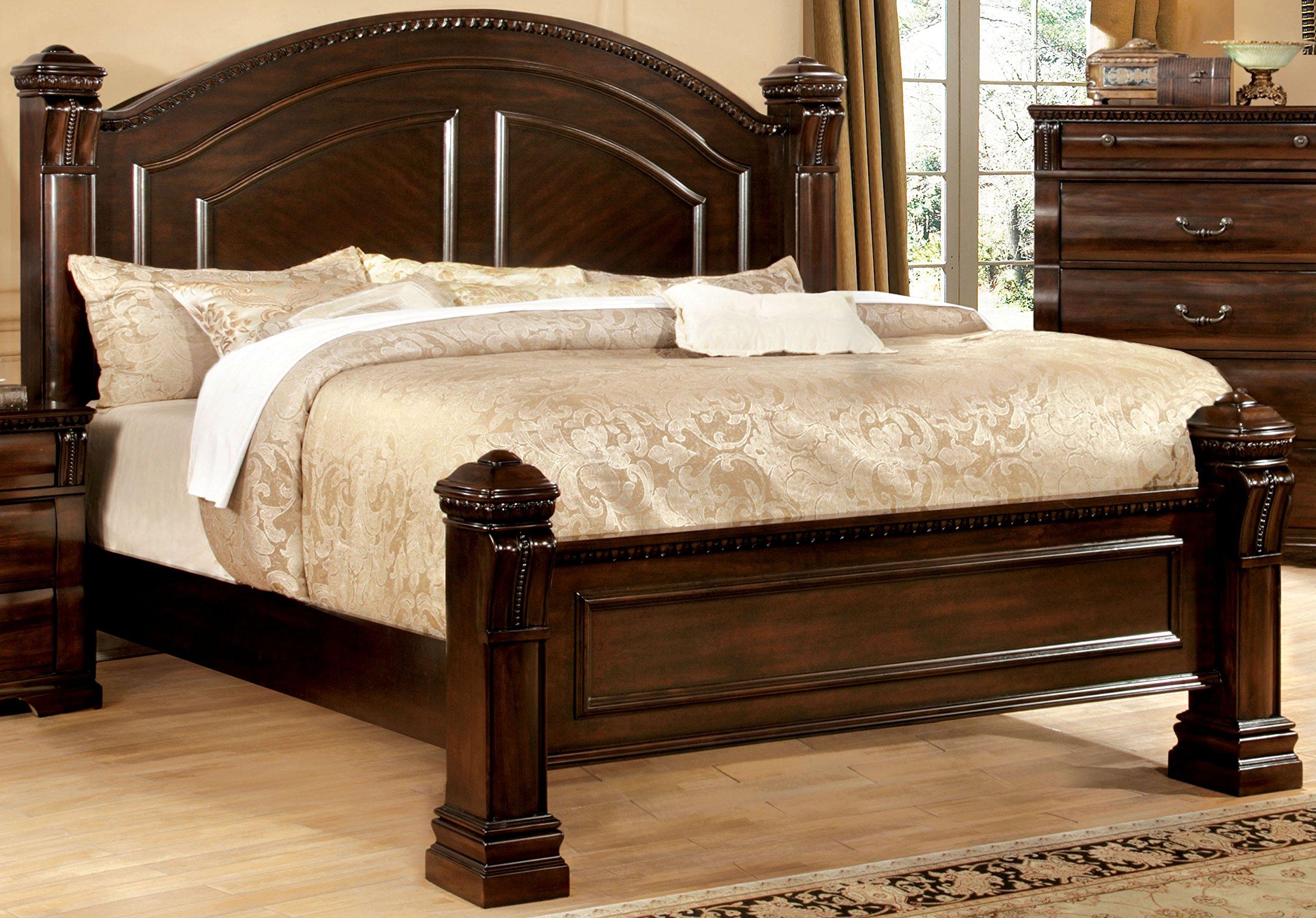 low poster king size solid wood bed frame bedroom furniture curved headboard ebay. Black Bedroom Furniture Sets. Home Design Ideas