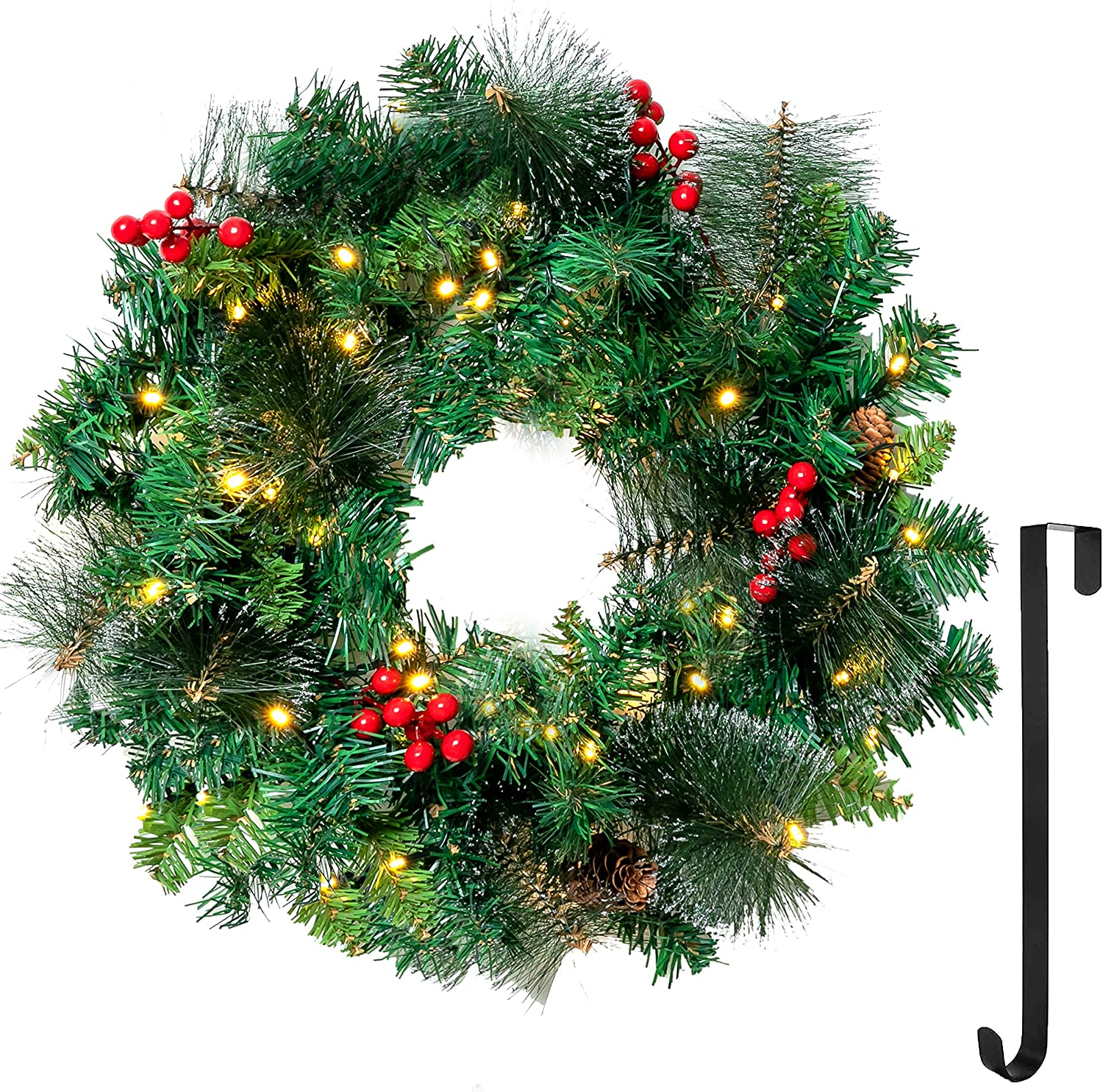 """20"""" Artificial Christmas Wreath Prelit with 15"""" Hanger, Decorated with 50 LED Lights, Red Berries, Pine Cones & Glitter Pine Needles for Front Door Wall Christmas Decorations (Battery Operated)"""