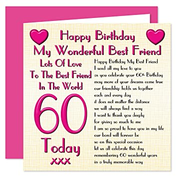 Best friend 60th happy birthday card lots of love to the best best friend 60th happy birthday card lots of love to the best friend in the bookmarktalkfo Choice Image