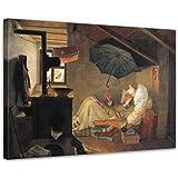"""Bilderdepot24 tela immagine Carl Spitzweg - Antichi Maestri """"Il povero poeta"""" 80x60cm - completamente incorniciati, direttamente dal produttore"""