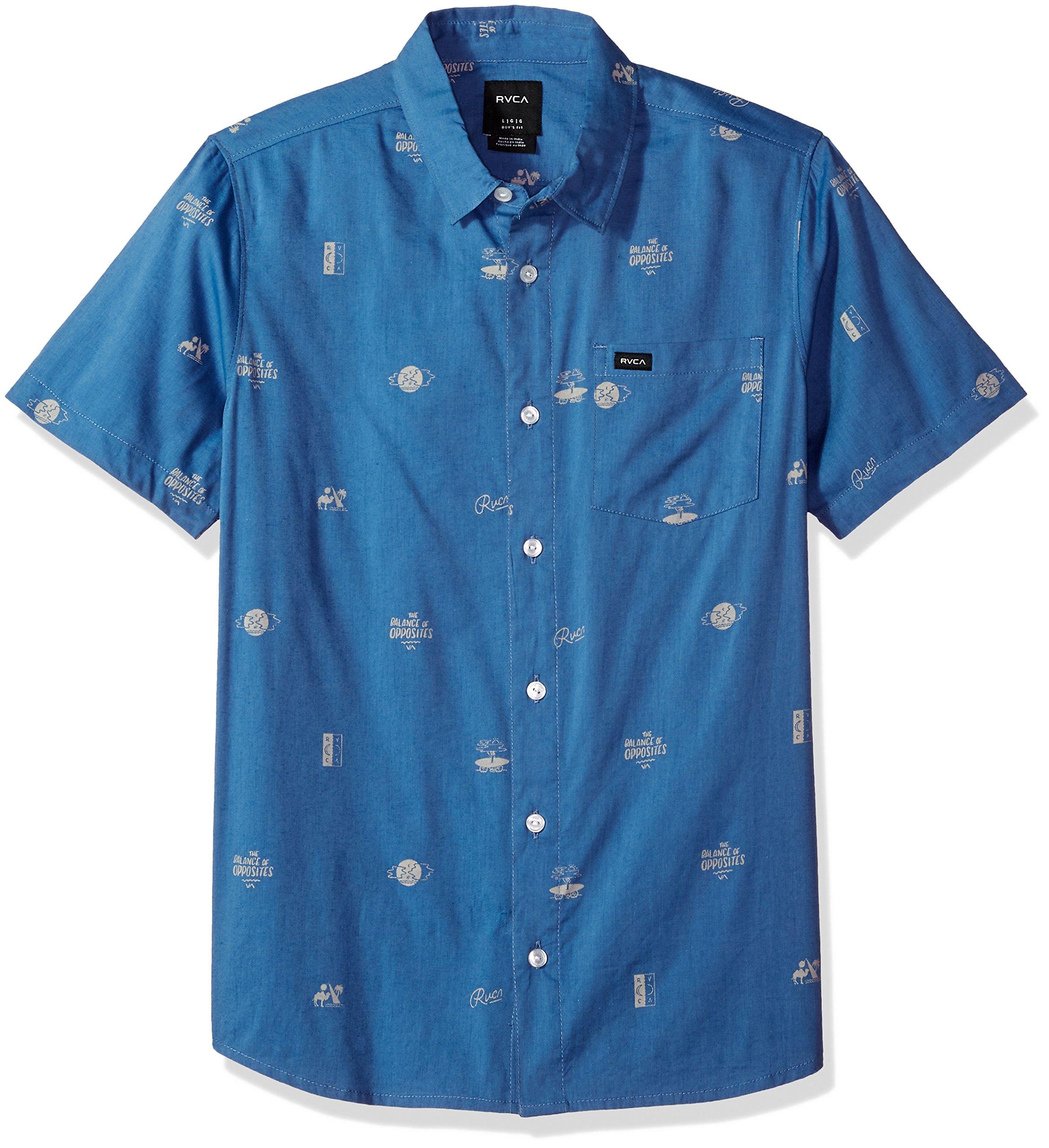 RVCA Boys' Big Mowgli Short Sleeve Woven Shirt, Cobalt, S