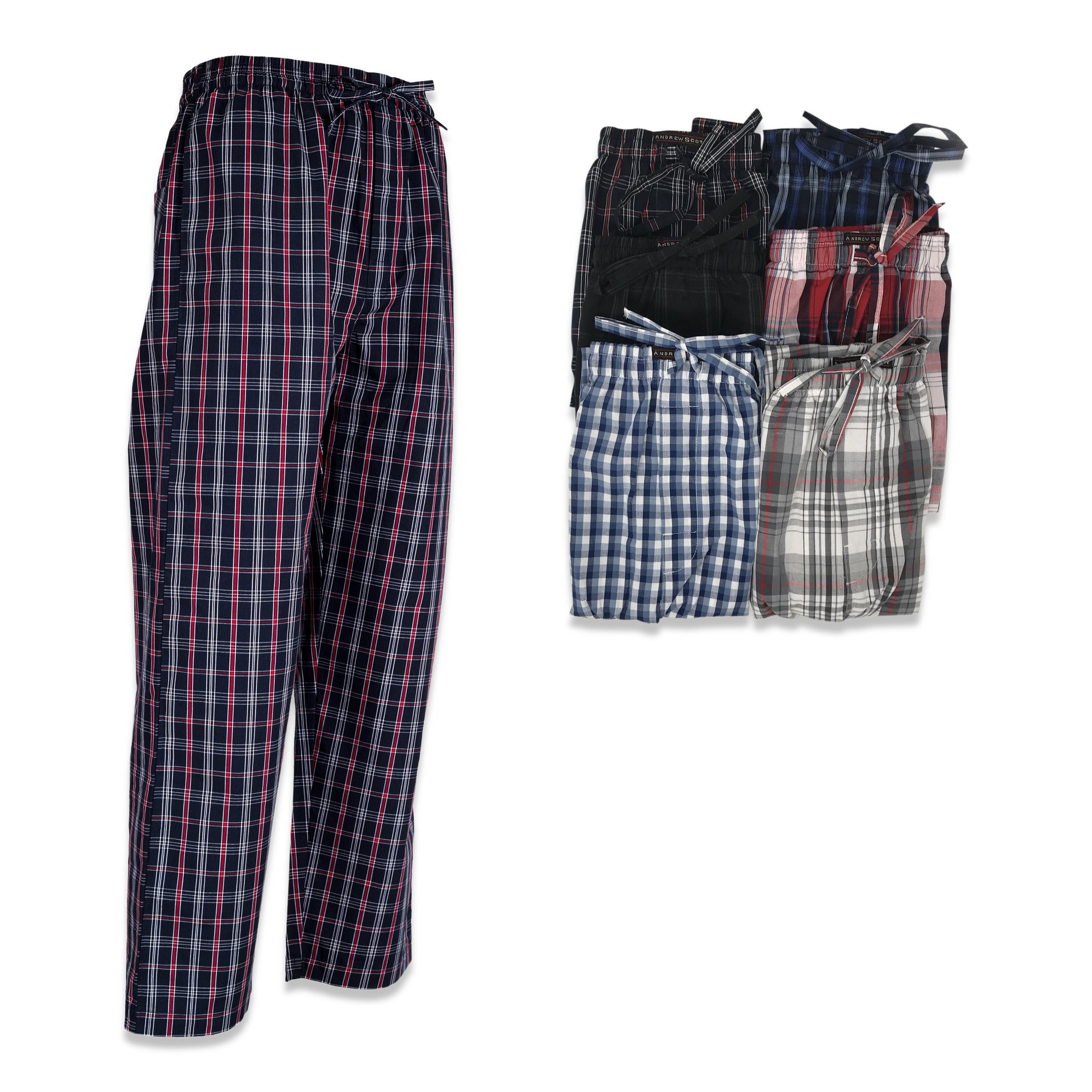Andrew Scott Boys 6 Pack Woven Pant (XL 18-20, 6 Pack - Assorted Classic Plaids)
