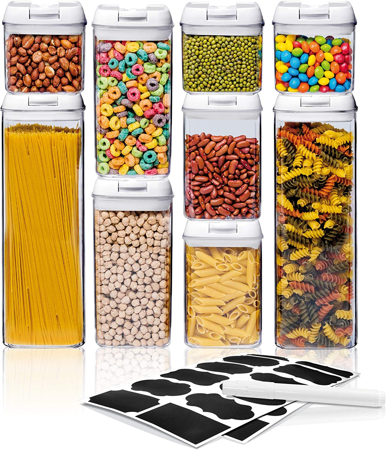 Airtight Food Storage Container Sets, Pantry Organization, Kitchen Organization, Pantry Containers, Larger Sizes with Interchangeable Lids,Premium Quality with Leak Proof Design -BPA FREE(9-Piece Set)