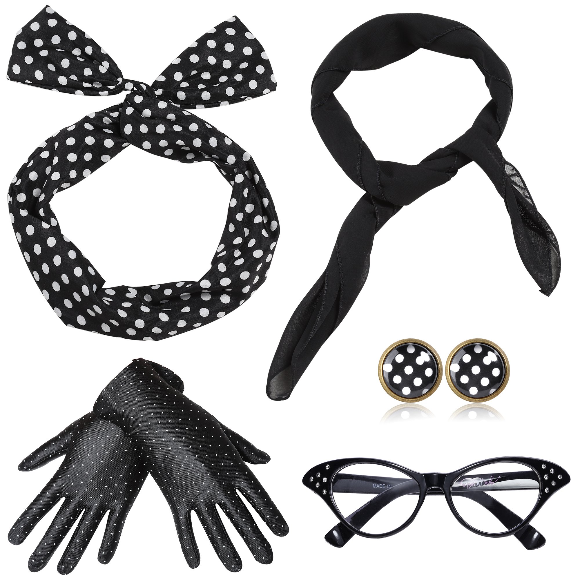 ArtiDeco 1950s Accessories Bandana Tie Headband Chiffon Scarf Cat Eye Glasses 50s Earrings and Gloves 50s Costume Accessories (Black)