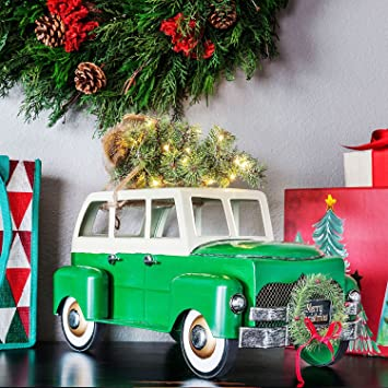 large vintage holiday truck or car with lighted christmas tree seasonal decoration green car - Christmas Truck Decor