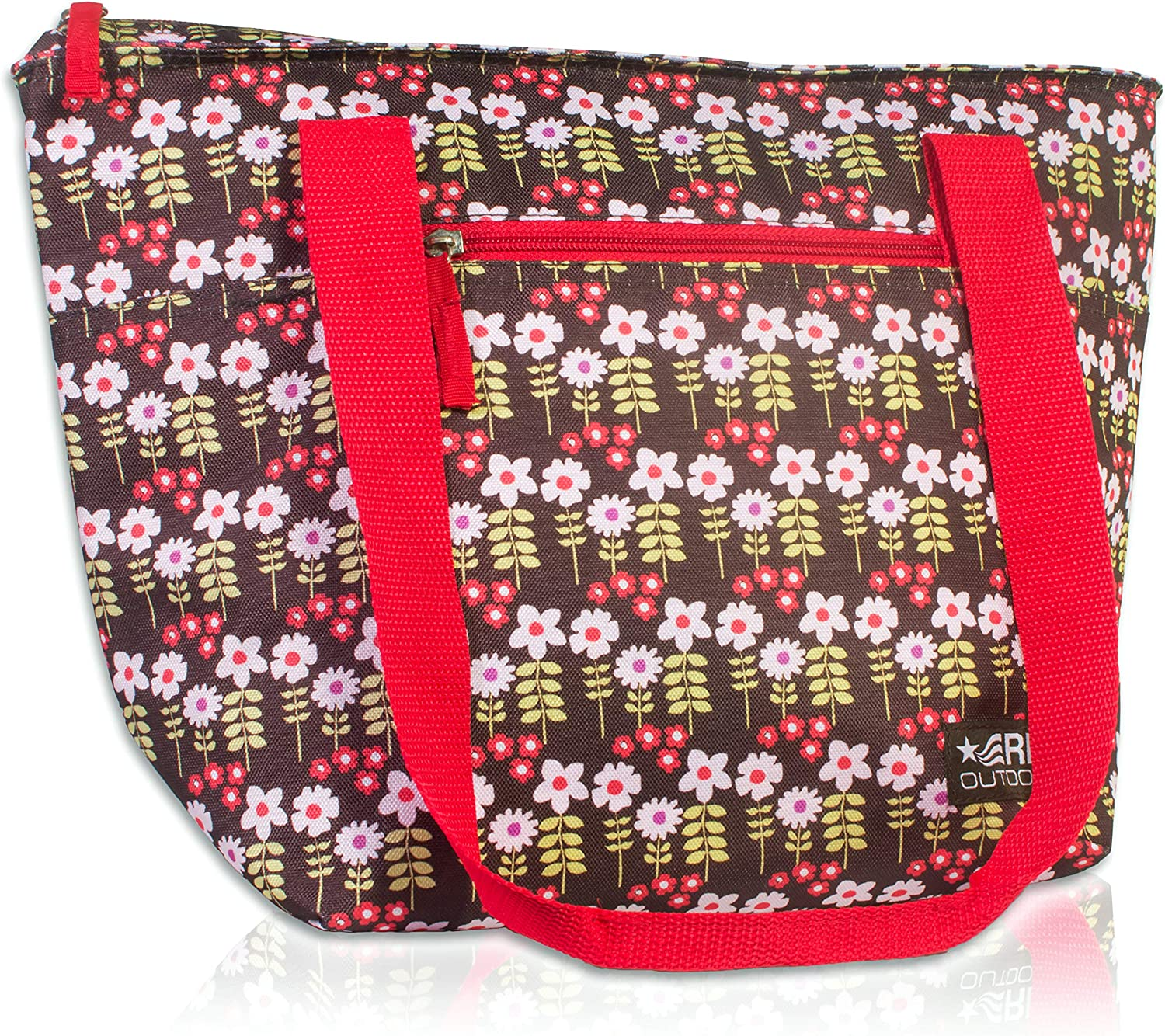 RMS Cooler Tote and Lunch Bag - Insulated Soft Cooler Bag for Everyday Activities - Ideal for Outdoors, Camping or Games - Stylish Floral Design for Women (Large, White Flower)