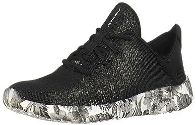 f581aa26bdce Skechers Women s Burst - Fine Vines Black White Ankle-High Fashion Sneaker  ...