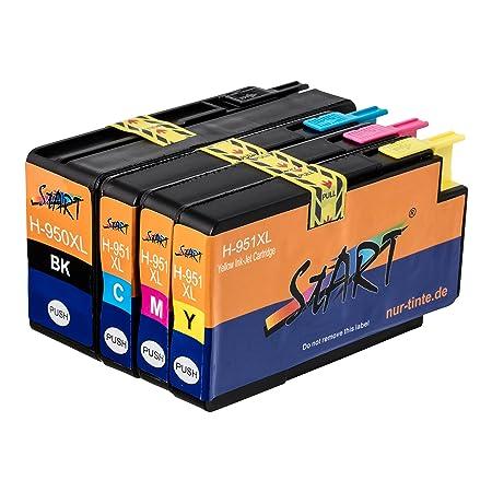 Start - 4 XL Ersatz Chip Druckerpatronen kompatibel zu HP 950XL / HP 951XL Schwarz, Cyan, Magenta, Gelb für Hewlett Packard O