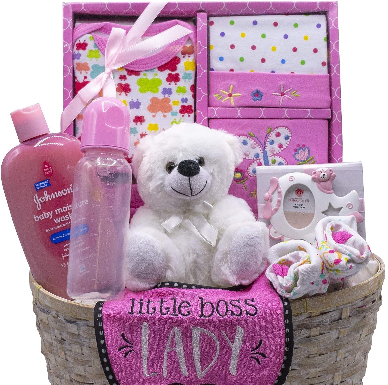 Nikkis New Arrival Baby Girl Gift Basket Pink