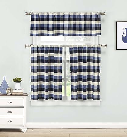 HOME MAISON - Kingsville Checkered Kitchen Window Curtain Tier Valance Set, 2 29 x 36 | 1 58 x 15, Blue