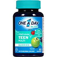 One A Day 60 Count VitaCraves Teen For Him Multivitamin Gummies Supplement with Vitamins A, C, E, B3, B6, B12, Calcium, and Vitamin D