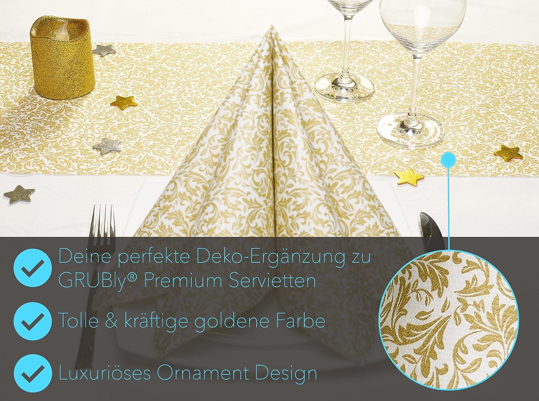 Airlaid Haute Qualit/é//Luxe GRUBly Chemin de Table//Ruban de Table Violet Motifs Mariage 30cm x 20m