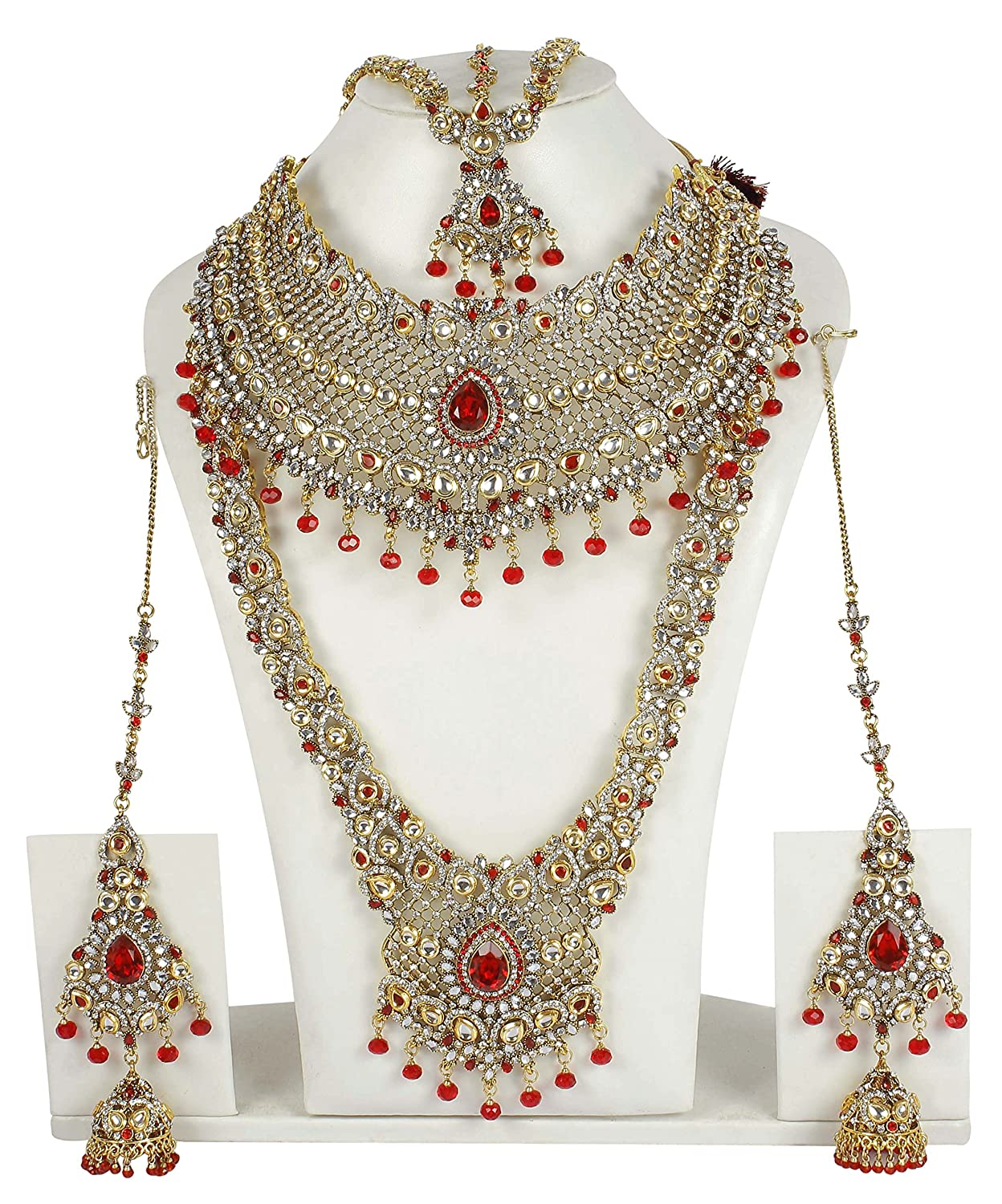 Buy Muchmore Red & White Kundan Bridal Set For Women Online at Low ...