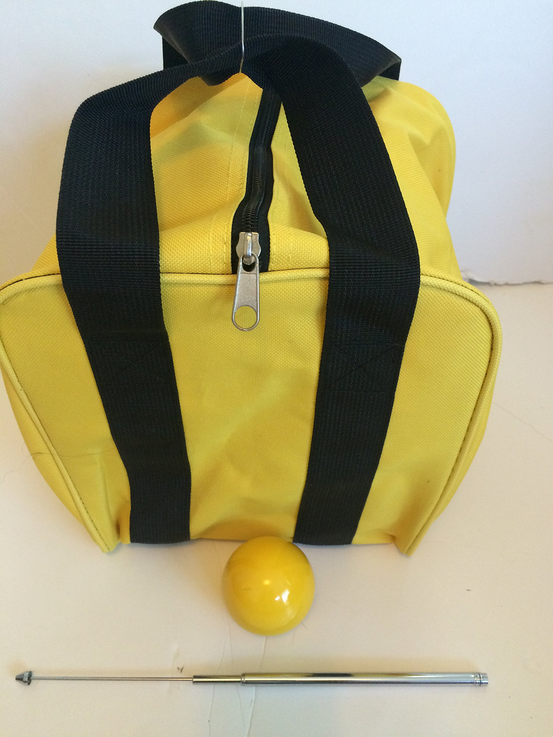 Unique Bocce Accessories Package - Extra Heavy Duty Nylon Bocce Bag (Yellow with Black Handles), Yellow pallina, Extendable Measuring Device