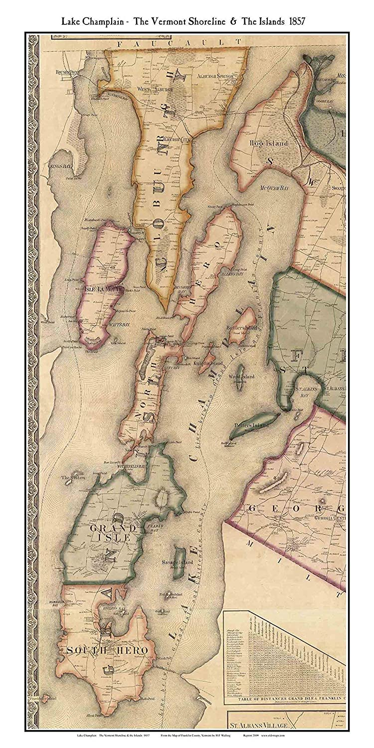 Amazon.com: Lake Champlain & The Islands 1857 Map of Towns by ...
