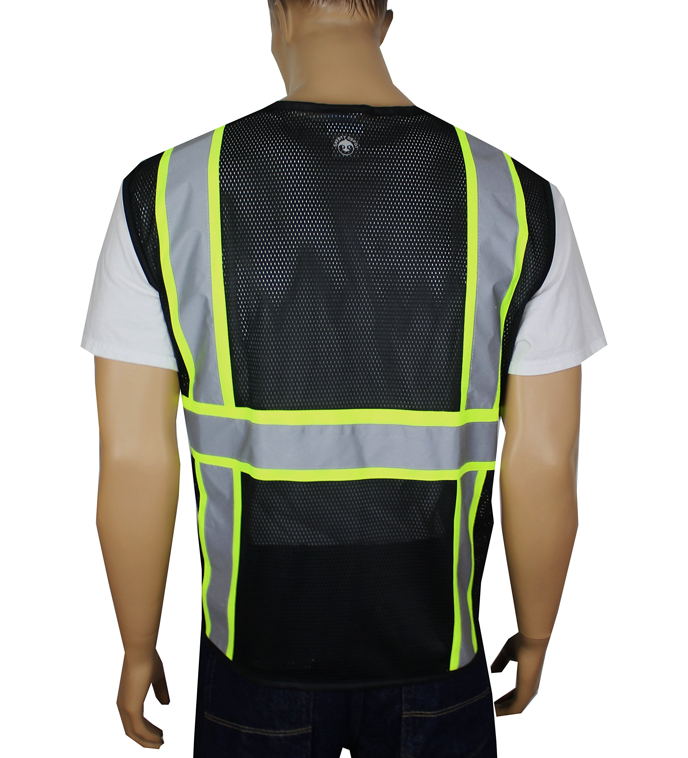 Safety Depot Breathable Safety Vest Multiple Colors Available, 4 Lower Pockets, 2 Chest Pockets with Pen Divider & High Visibility Reflective Tape MP40 (Mesh Black, Extra Large) by Safety Depot (Image #2)