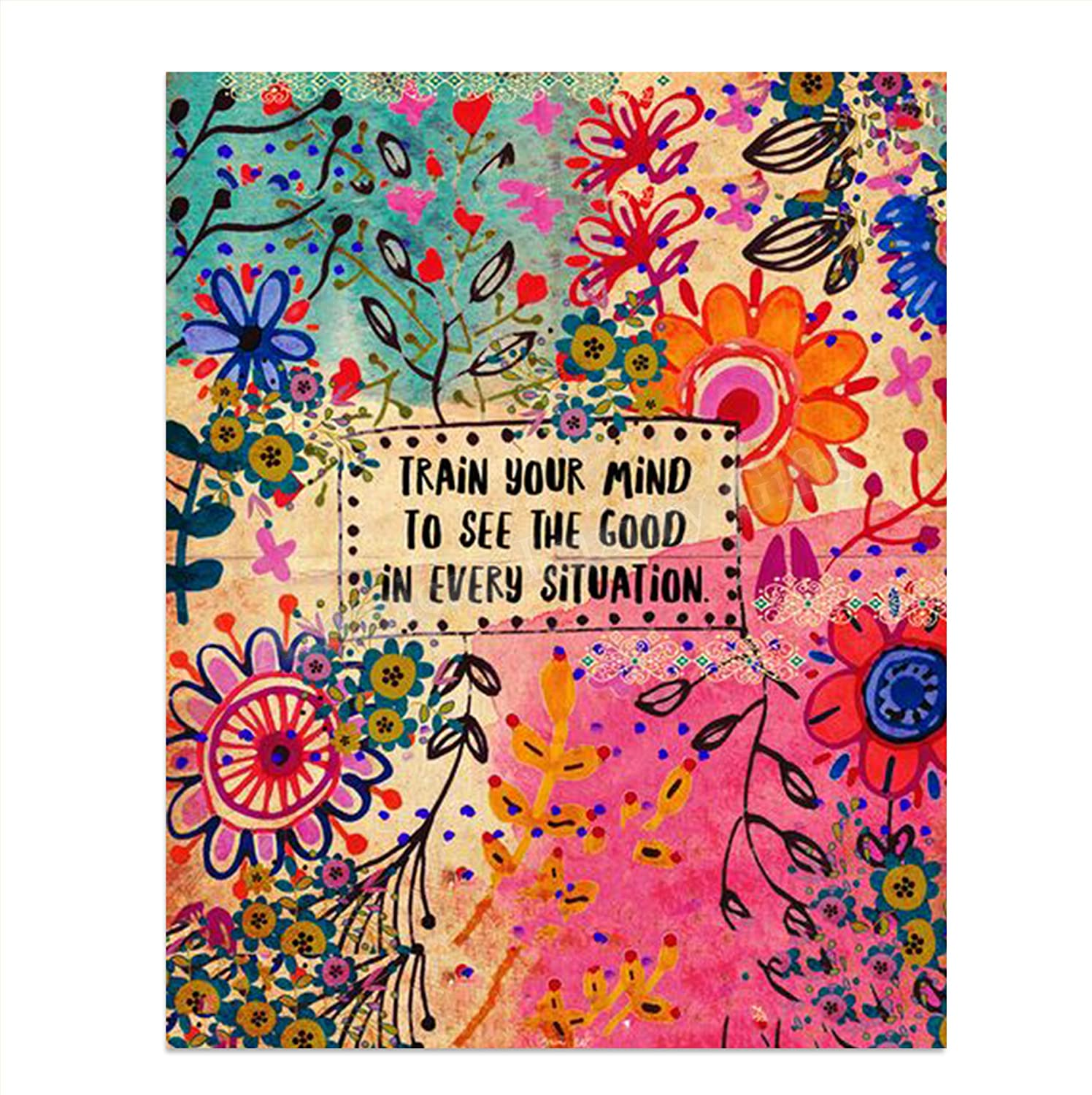 """""""Train Your Mind To See The Good""""- 8 x 10""""Inspirational Wall Print Sign on Floral Hippie Pattern- Ready to Frame. Retro Motivational Wall Art. Home-Office Décor. Great for Students-Classroom-Dorm."""