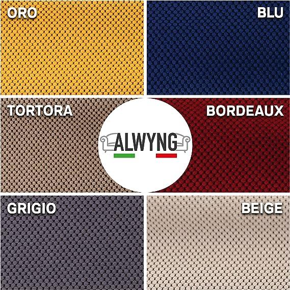 Beige ALWYNG Copridivano Bielastico Elegante in Tessuto Cotone Puro Elasticizzato Made in Italy Disponibile in 6 Colorazioni E Misure Copri Divano per Arredamento Soggiorno 2 Posti da 140 a 190cm