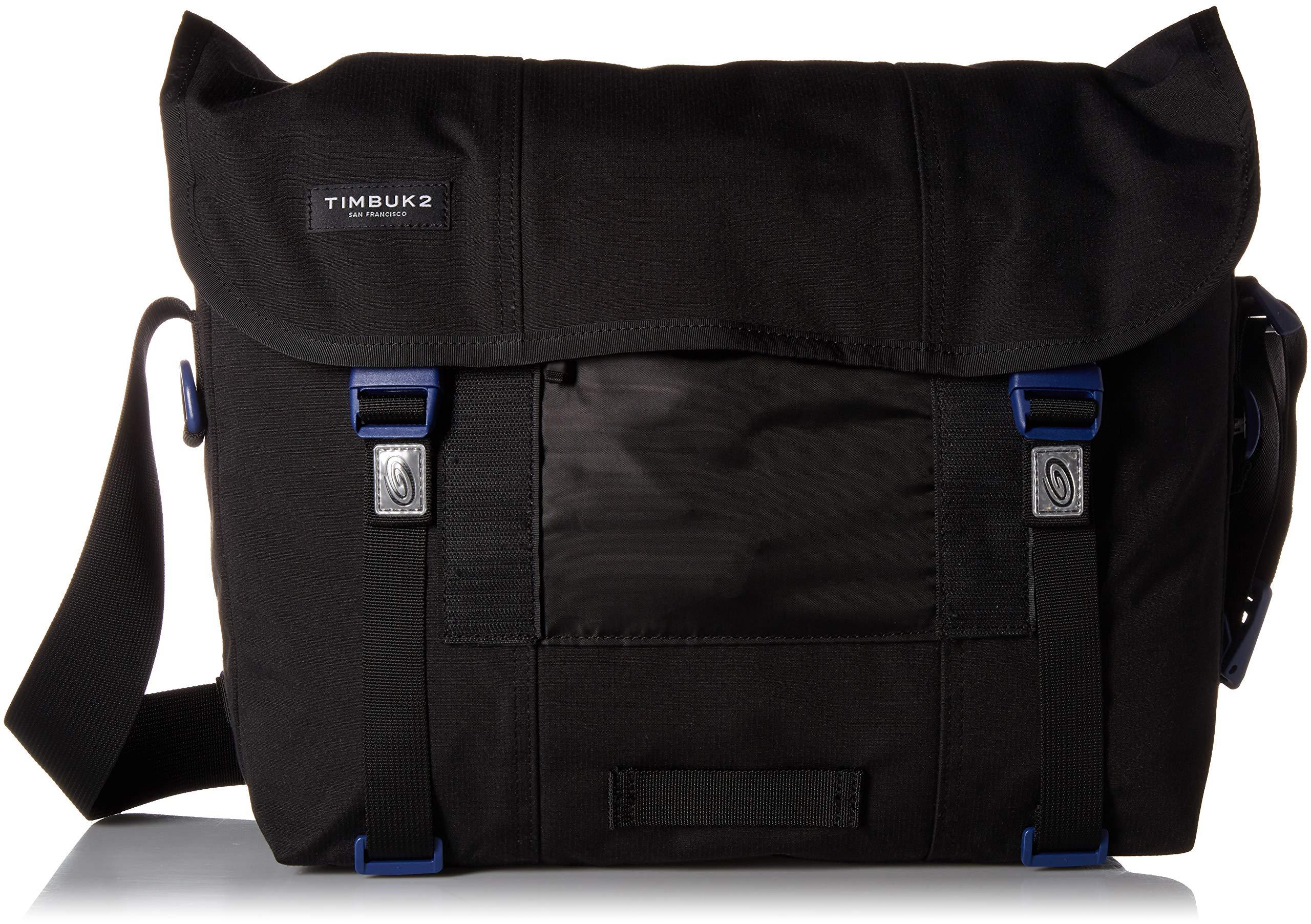 Timbuk2 Flight Classic Messenger Bag, Jet Black/Blue Wish, XS, Jet Black/Blue Wish, x Small