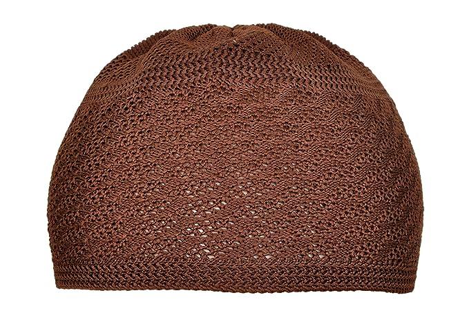 7723ad715f2c9 Image Unavailable. Image not available for. Color  Elastic Topi Prayer  Taqiyah Takke Kufi Hat Skull Cap Beanies Men Muslim Brown ...