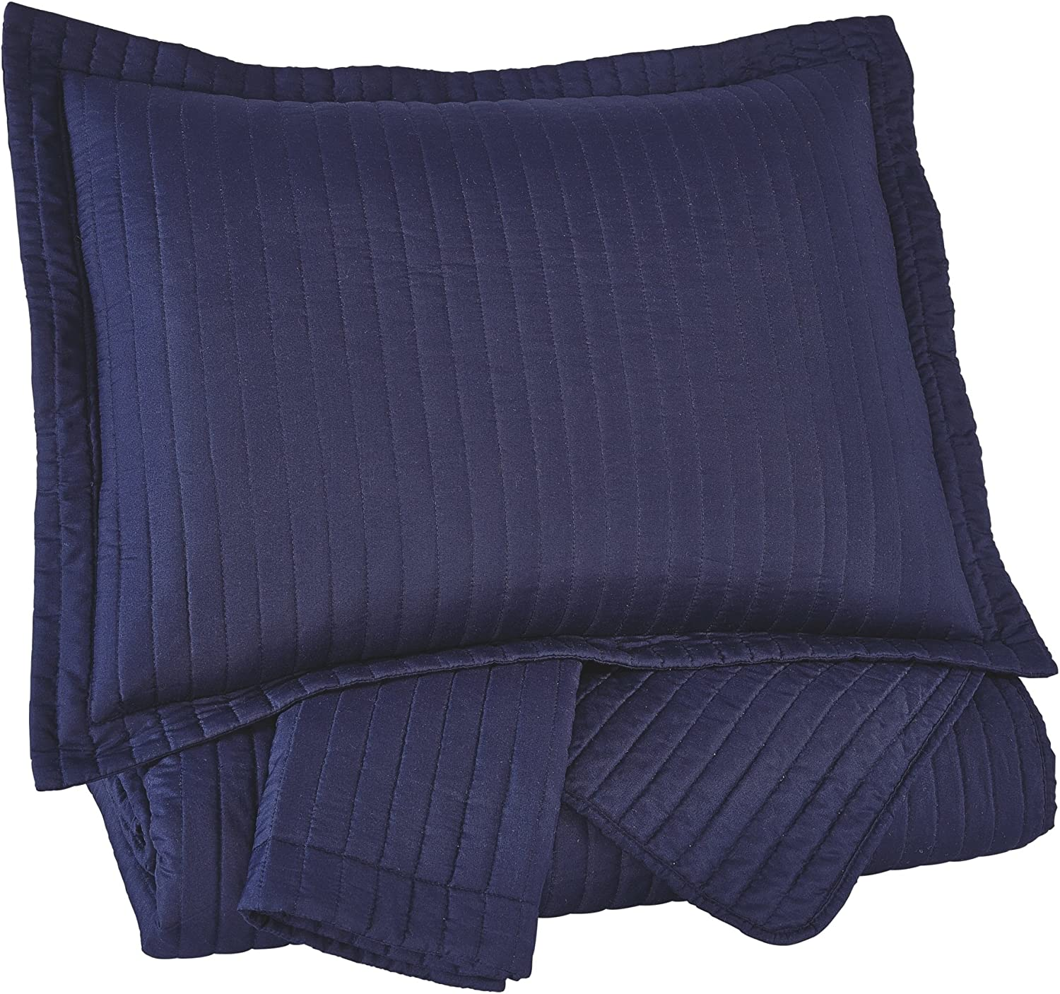 Ashley Furniture Signature Design - Raleda Coverlet Set - King - Contains 3 Pieces - Navy