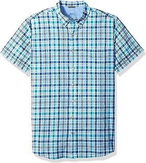 Izod Mens Big and Tall Saltwater Chambray Plaid Short Sleeve Shirt