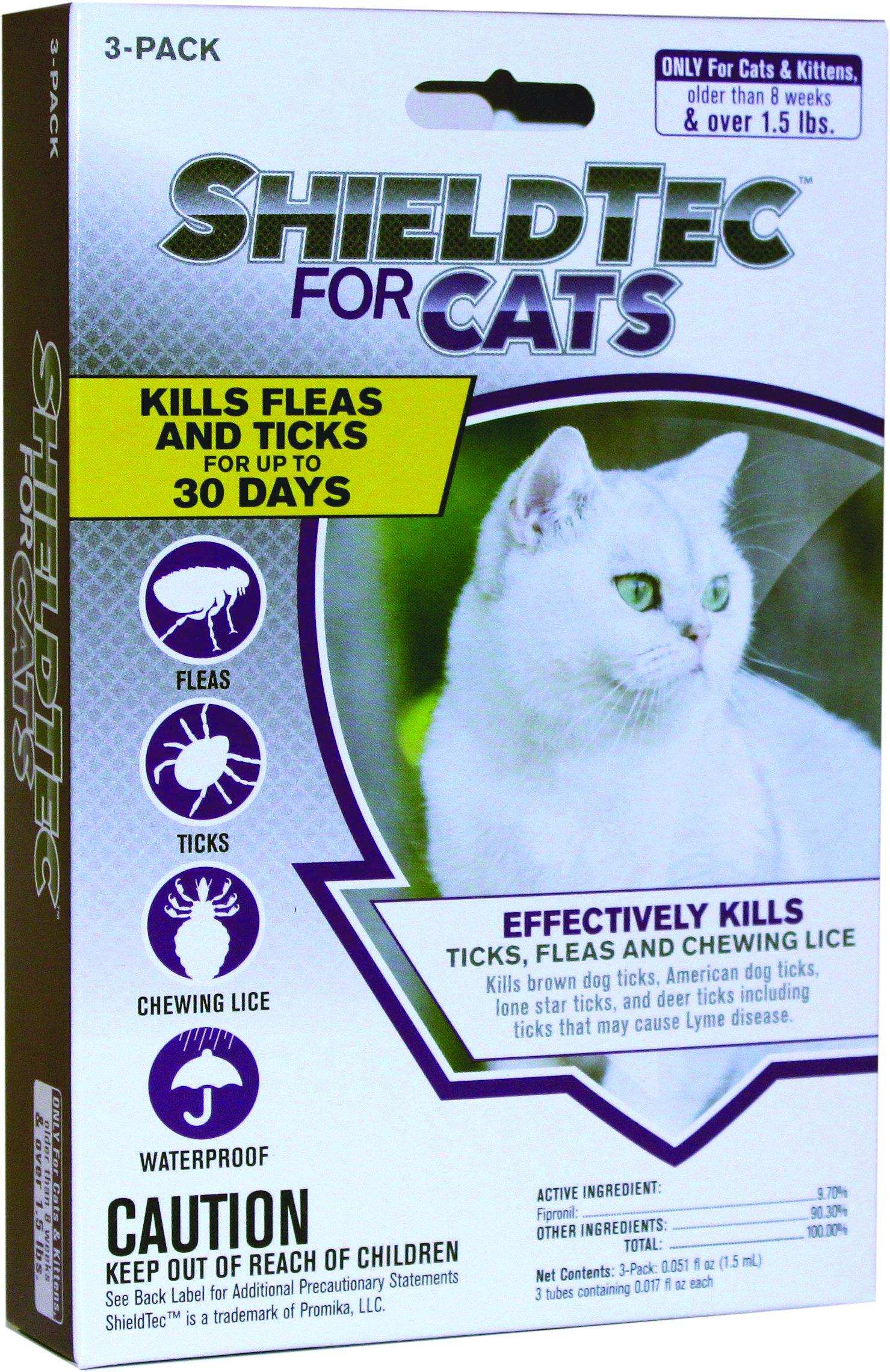 ShieldTech - DROPS - KILLS Flea Tick Lice Mosquitoes Eggs - Protection (3-dose) CAT (1.5+ lbs)