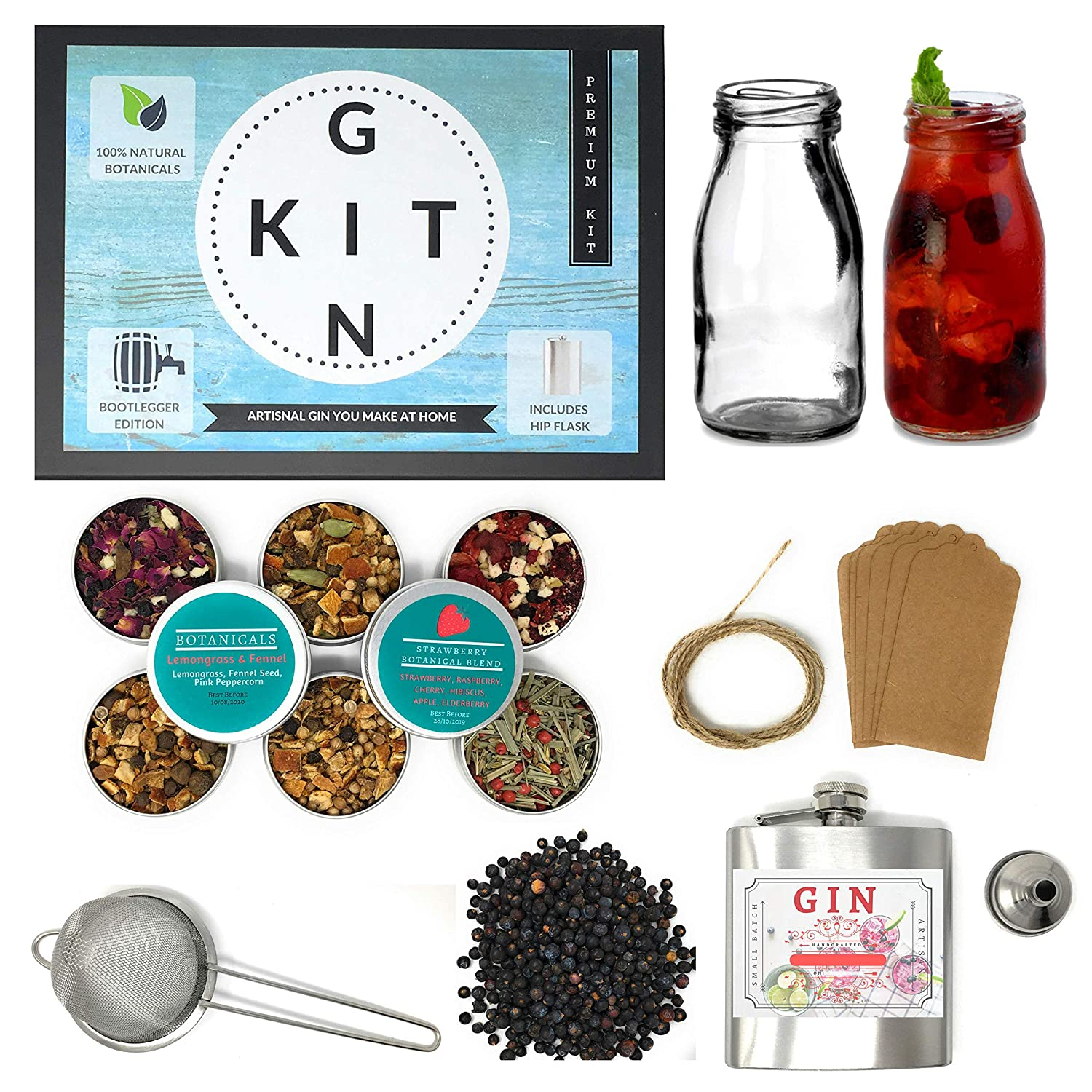 Real Homemade Gin Making Kit |The Ultimate Gin Making Kit Gift | Huge 28 Piece Botanical Gin Kit with Glass Bottles, Hipflask, Funnel, 6 Real Botanical Blends & More! The gin in a tin co.