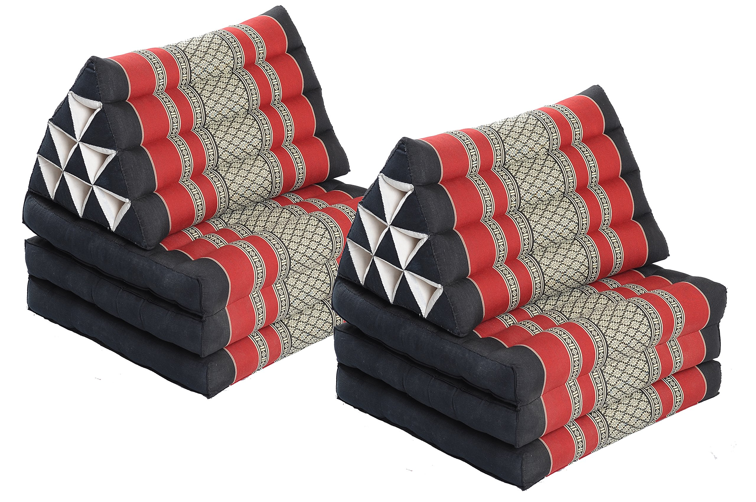 Double Lounge Pack: 2x Triangle 3-Fold Mat (67x20) Thai Triangular Pillow Set 100% Kapok Filling Cushion Black & Red Floorcushion by Handelsturm