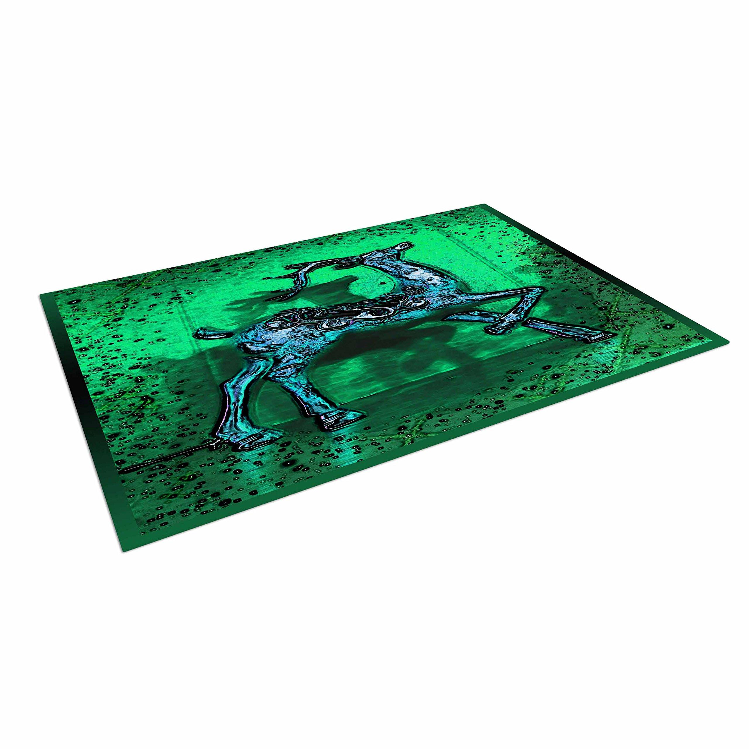 KESS InHouse Anne LaBrie ''Dance On'' Green Blue Outdoor Floor Mat, 4' x 5'
