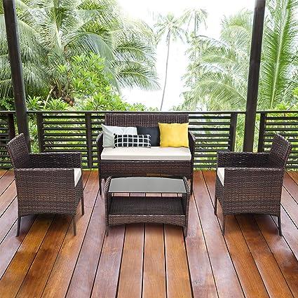 Amazon.com: Tangkula - Juego de 4 muebles de mimbre para ...
