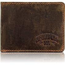 Klondike 1896 Mini cartera de cuero auténtico Noah en formato horizontal, elegante monedero de cuero, marrón