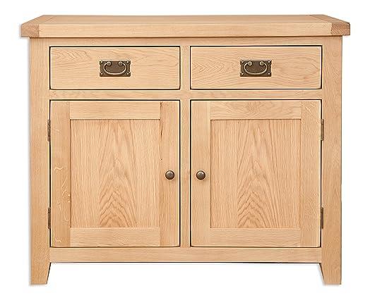Melbourne Natural Living Golden Oak 2 Drawer 2 Door Sideboard (Oaklands  Furniture)