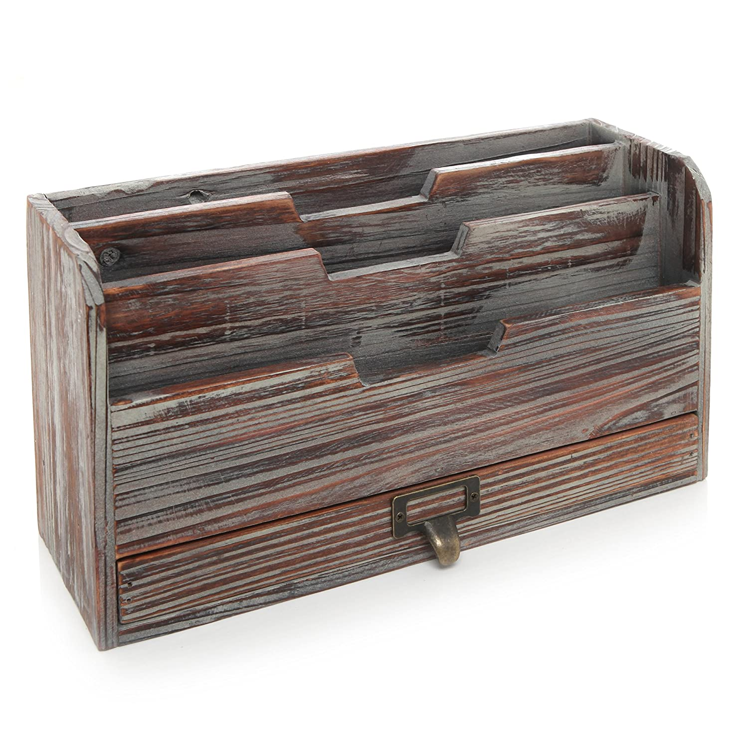 amazoncom  tier country rustic torched wood office desk file  - amazoncom  tier country rustic torched wood office desk file organizermail sorter tray holder w storage drawer home  kitchen