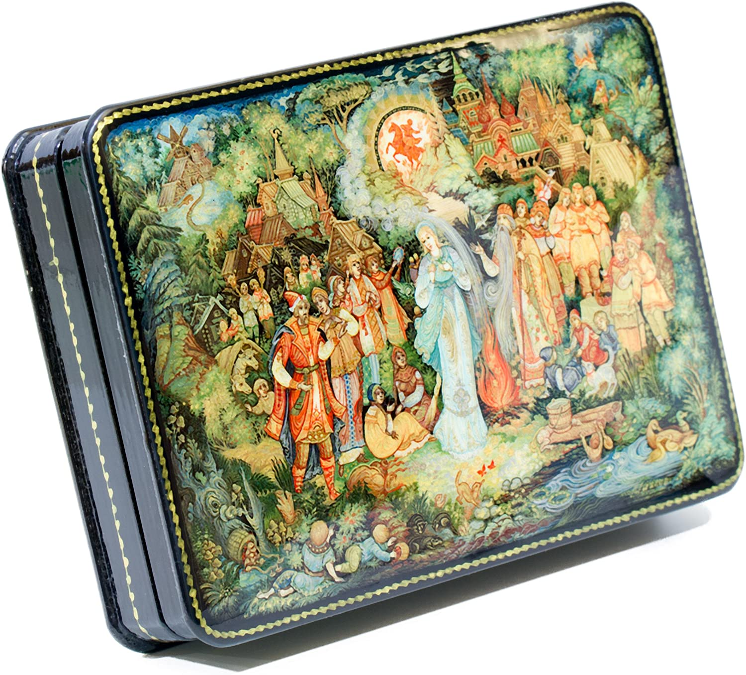 Authentic Russian Lacquer box  Russian Winter Free Shipping Hand Painted Natural Nacre!