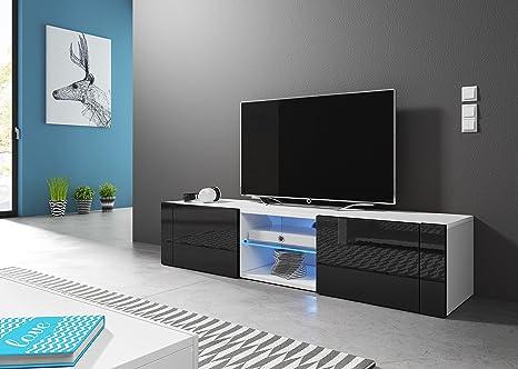 Hit mobiletto porta tv design bianco opaco et nero lucido