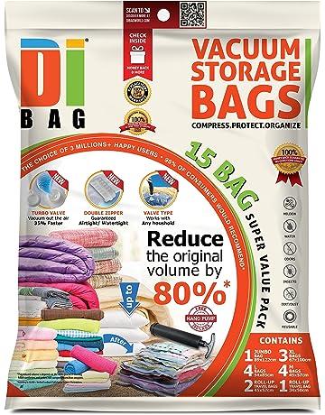 DIBAG - Bolsas de almacenaje al vacío de ropa para ahorrar espacio. 15 bolsas ahorradoras