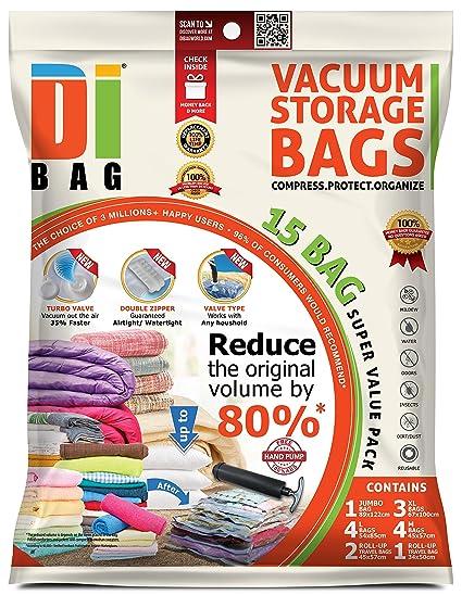 Space Saver Vacuum Storage Bags - 15 Premium Travel Space Bags - Bag Size Jumbo  sc 1 st  Amazon.com & Space Saver Vacuum Storage Bags - 15 Premium Travel Space Bags - Bag Size: Jumbo Large XLarge u0026 Medium - 2X Sealed Compression Plastic Bags For ...
