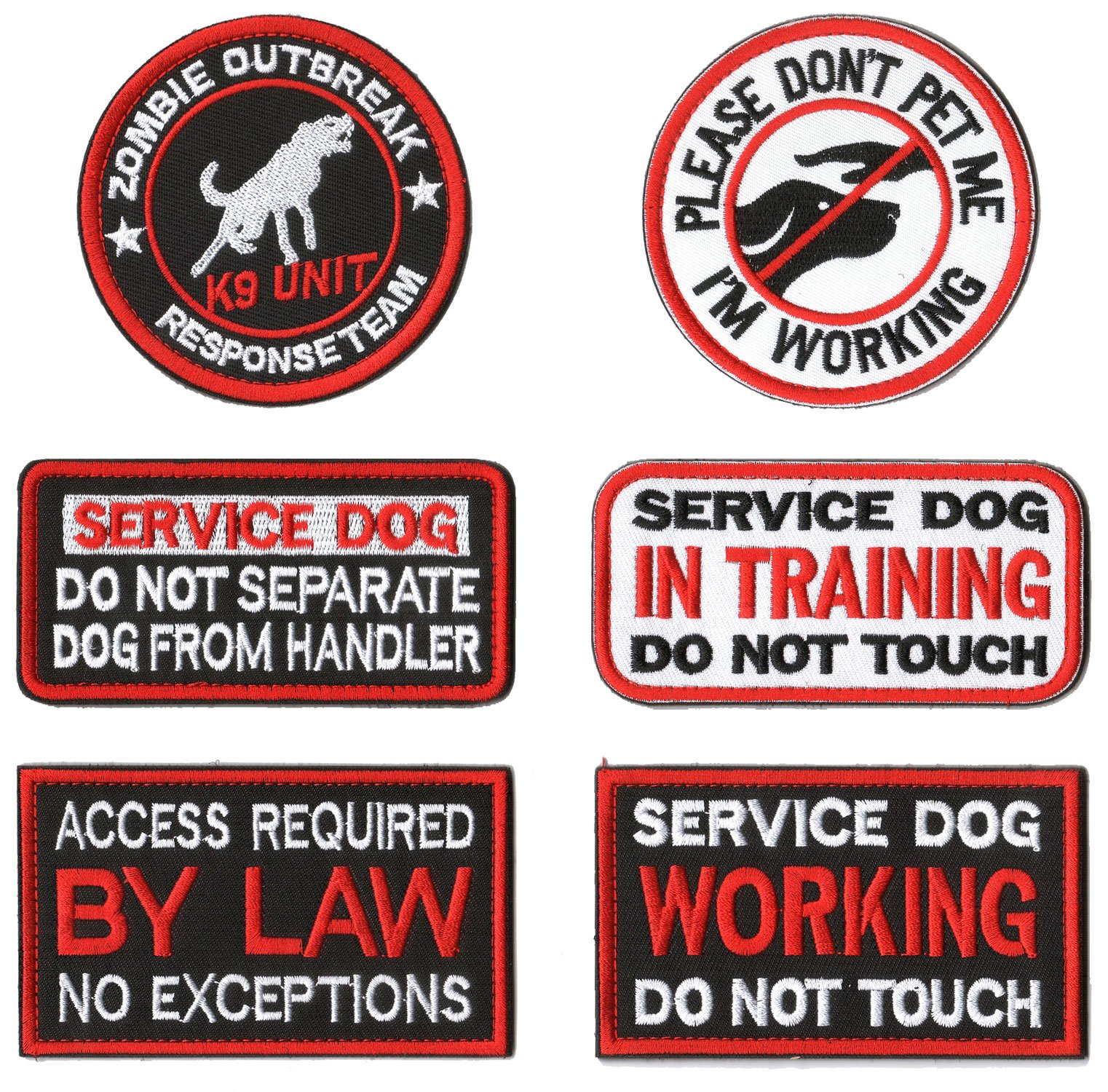 WZT 6 Pieces Service Dog Working Do Not Touch Military Tactical Morale Badge Hook & Loop Fastener Patch by WZT