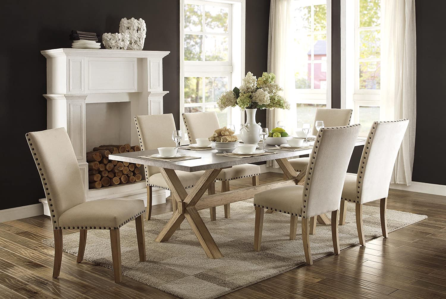 Amazoncom Homelegance Luella 7 Piece Dining Set 84inch Zinc Top