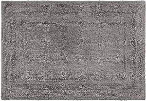 Chaps Home Camden 100% Ringspun Cotton Reversible Non-Slip Bathroom Rug, 21X34, Quartz Grey