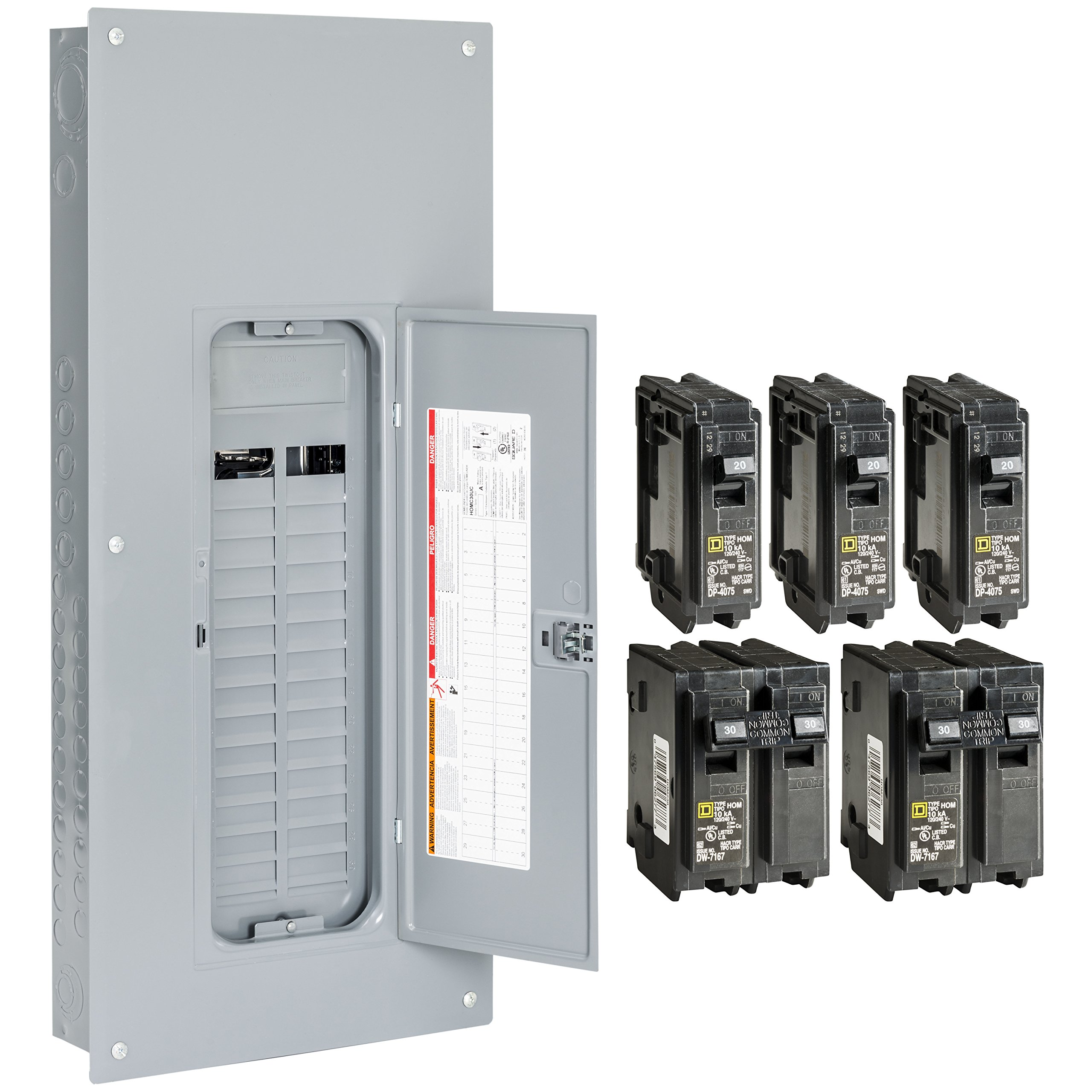 Square D by Schneider Electric HOM3060L225PGCVP Homeline 225 Amp 30-Space 60-Circuit Indoor Main LugsLoad Center with Cover and Ground Bar Value Pack (Plug-on Neutral Ready),