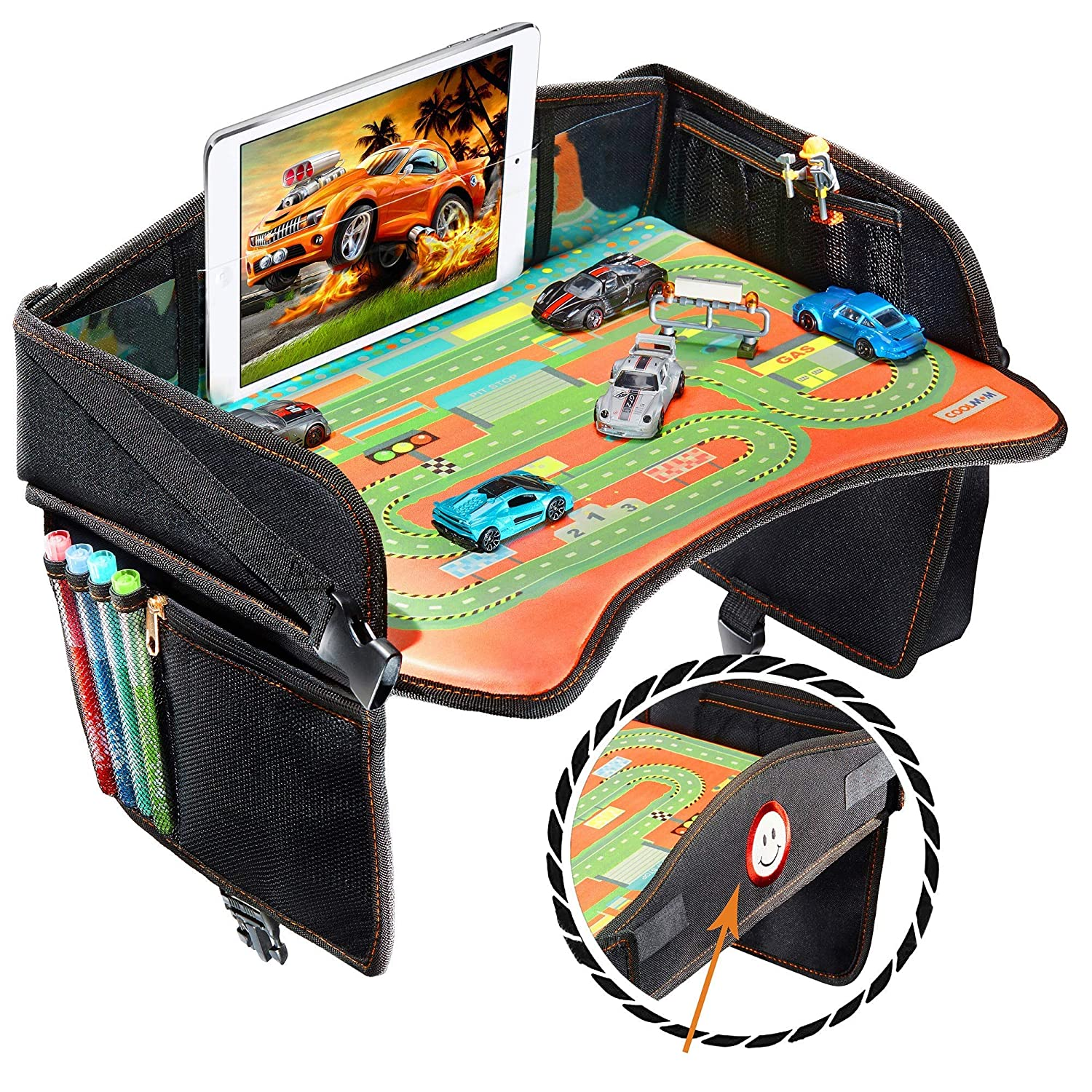 Stroller Table Great for Road Trips Airplane Seat Organizer Toddler auto Snack Holder Kids Carseat Travel Lap Desk for Eating Activity Tray Car Travel Tray for Kids
