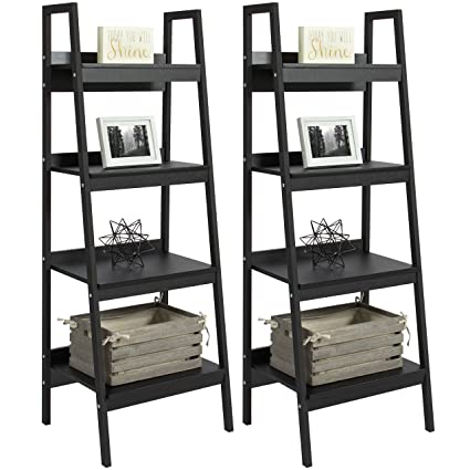 Best Choice Products Set Of 2 4 Shelf Modern Open Wooden Ladder Bookcase Storage Display