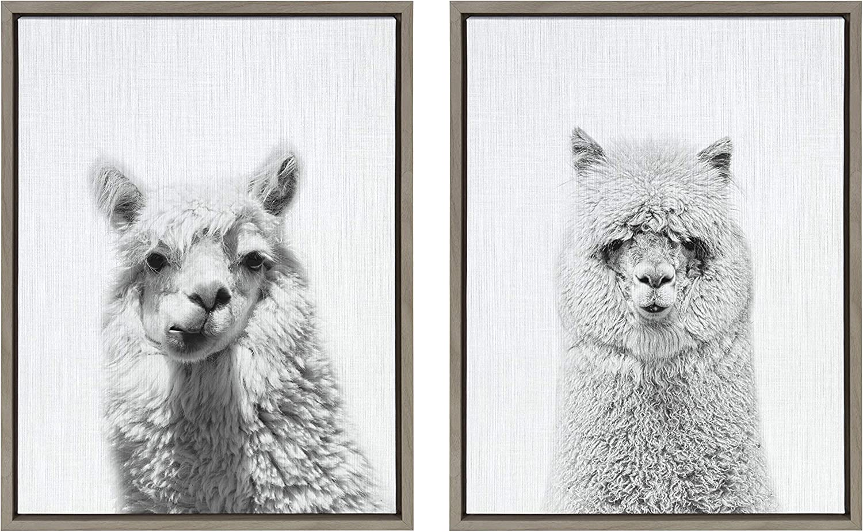 Kate and Laurel Sylvie Alpaca Portrait and Hairy Alpaca Framed Canvas Wall Art by Simon Te of Tai Prints, 18x24 Gray, Adorable Animal Art Decor