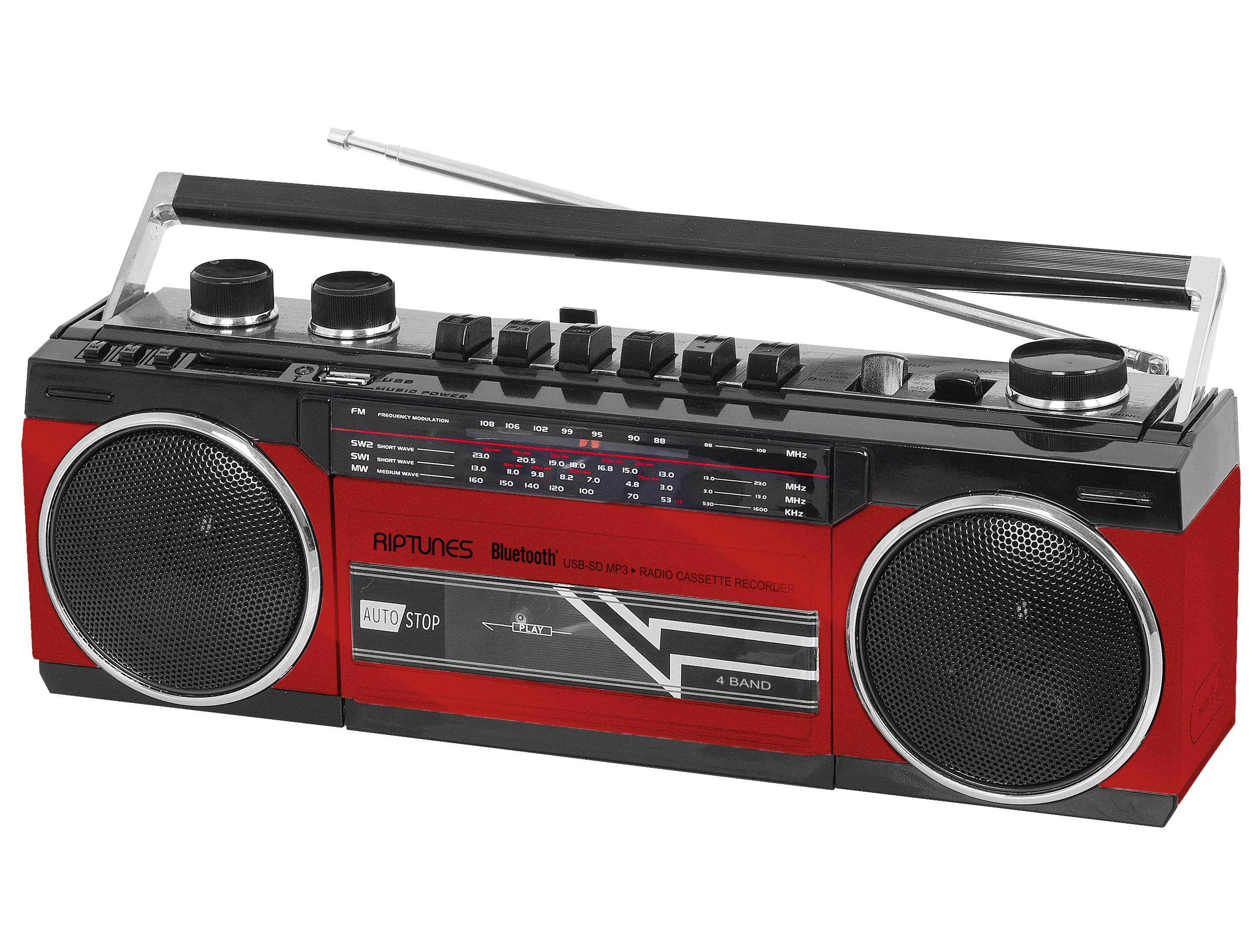 Riptunes Cassette Boombox, Retro Blueooth Boombox, Cassette Player and Recorder, AM/FM/SW-1-SW2 Radio-4-Band Radio, USB, and SD, Headphone Jack, RED