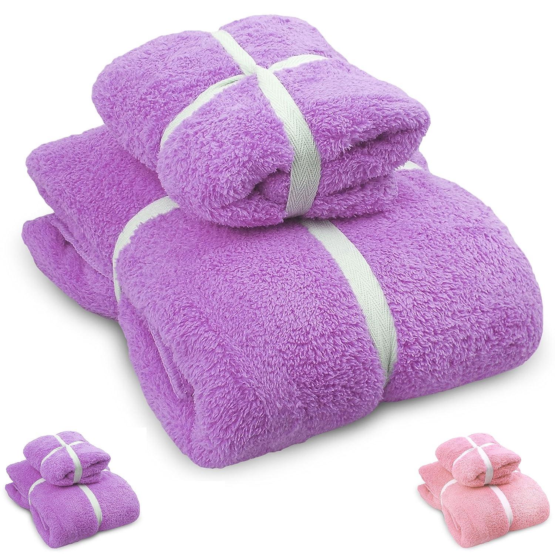 Excellent Living/® Microfiber Bath /& Hand Towel Set Purple Excellent Living® COMIN16JU044853